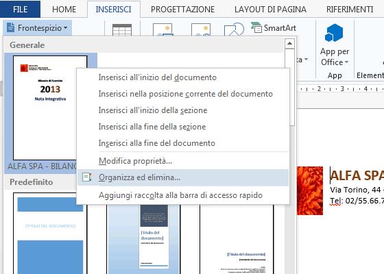 frontespizio word