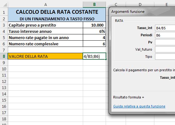 Come calcolare il valore della rata di un mutuo a tasso fisso e a rate costanti con Office Excel ...