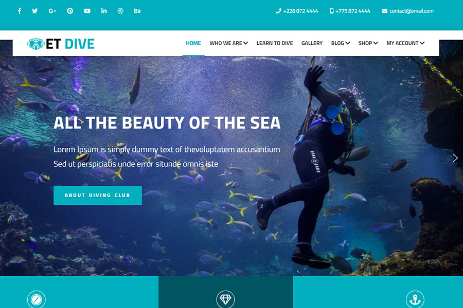 free wordpress template ET Dive